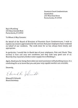 Condominium Association plumbing testimonial letter