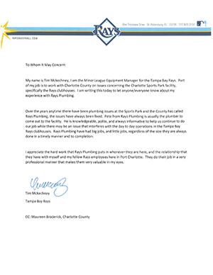 Tampa Bay Rays - Plumbing Testimonial Letter